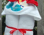 Hooded Towel, Monogram Optional, Mermaid Applique, Removable Washcloth, Baby, Toddler, Child,