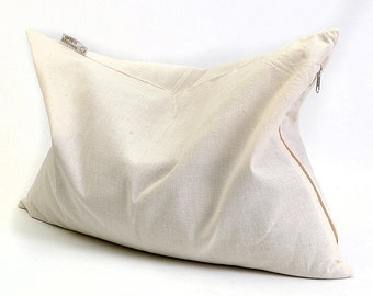 Buckwheat pillow, Sleep pillow 12'x16'/30x40cm, Milk White Pillow, Cotton fabric pillow cover, Zippered pillow cover