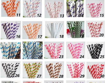 50 Colored Striped Star Dots Chevron Paper Drinking Straws-Cake Pop Sticks Party Drinking Straws for Wedding Easter Chirtmas Sweet 16