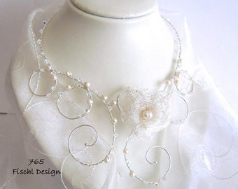 Wedding necklace bridal necklace wirelace Celtic blossom pearls filigree noble ivory white crystal 765