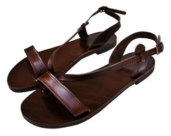 Dark Brown Leather Sandals
