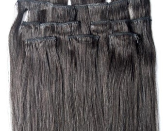 18 inches 7pcs Clip In Human Hair Extensions 1B Off Black