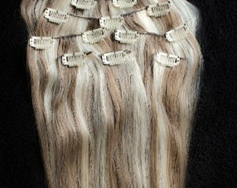 24inches 7pcs Clip In Human Hair Extensions 8/613 Brown Blonde Mix