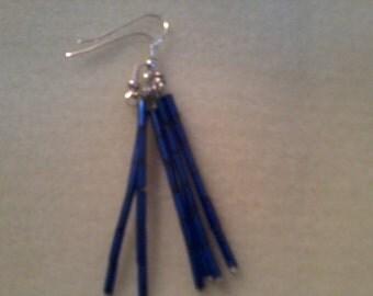 blue glass bugle earrings