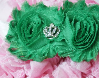 Shabby Rose Double flower Green with crown rhinestone center on white band