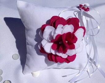 Fushia Felt Rose Wedding Ring Bearer Pillow handmade