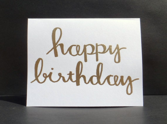 Happy birthday modern calligraphy heat embossed by