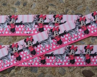 "Pink Zebra Minnie Mouse Printed Ribbon 7/8"" ribbon hair bow grosgrain ribbon"