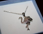 Black & White Diamond Chip Flamingo Necklace in Sterling Silver