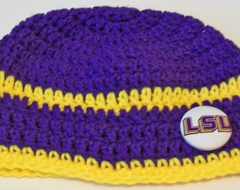 Purple and Gold Tigers Hand Crocheted Baby and Childrens Beanie Hat Great Photo Prop 5 Sizes Available