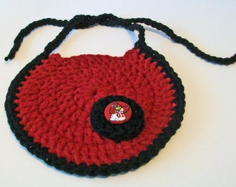 Hand Crocheted Round Black and Garnet South Carolina Gamecocks Inspired Baby Bib Great Photo Prop