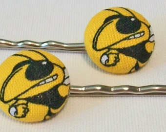 Fun Pair of Georgia Tech Yellow Jackets Inspired Gold and Black Button Metal Bobby Pins