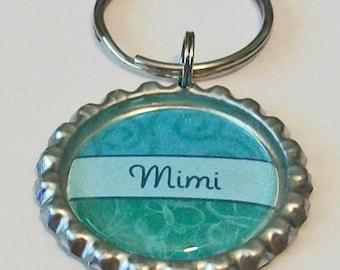 Teal Green Mimi Grandmother Metal Flattened Bottlecap Keychain Great Gift