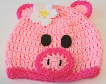 Adorable Pink Pig Crocheted Baby and Childrens Hat Great Photo Prop 5 Sizes Available