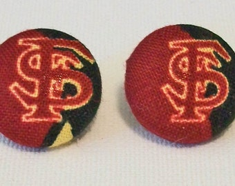 Cute Garnet and Gold Florida State Seminoles Inspired Fabric Button Pierced Earrings