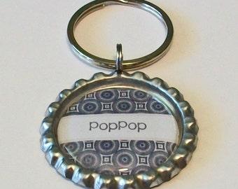 Black and Gray Geometric Pattern PopPop Grandfather Metal Flattened Bottlecap Keychain Great Gift