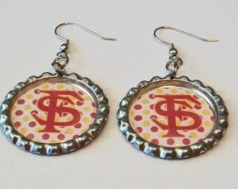 Garnet and Gold Polka Dot Florida State Inspired Metal Flattened Bottlecap Dangle Earrings