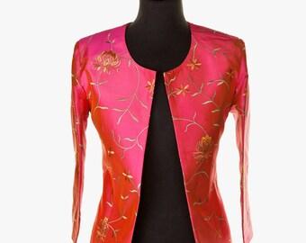Silk Juna Jacket in Schiaperelli Pink