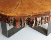 Live Edge Coffee Table  Reclaimed Wood Coffee Table - Live Edge Oak