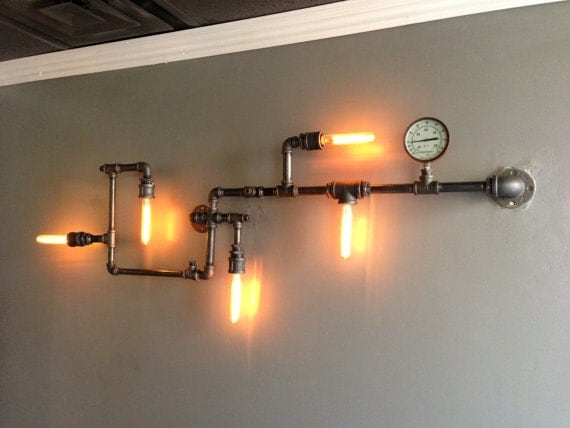 Items similar to pipe lighting on etsy for Pipes and lights