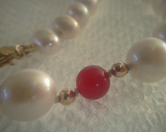 ruby and pearl necklace handmade