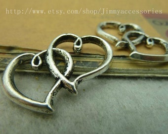 5pcs 20x32mm silver double heart charm connector