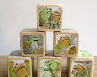 Frog and Toad Are Friends // Childrens Book Blocks // Natural Wood Toy