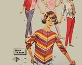 Vintage 60s Cigarette Pencil Pants Pattern Cowl Neck MOD TOP Handkerchief Hem Slim Taper High Waist Pants / Butterick 9805 Size 12