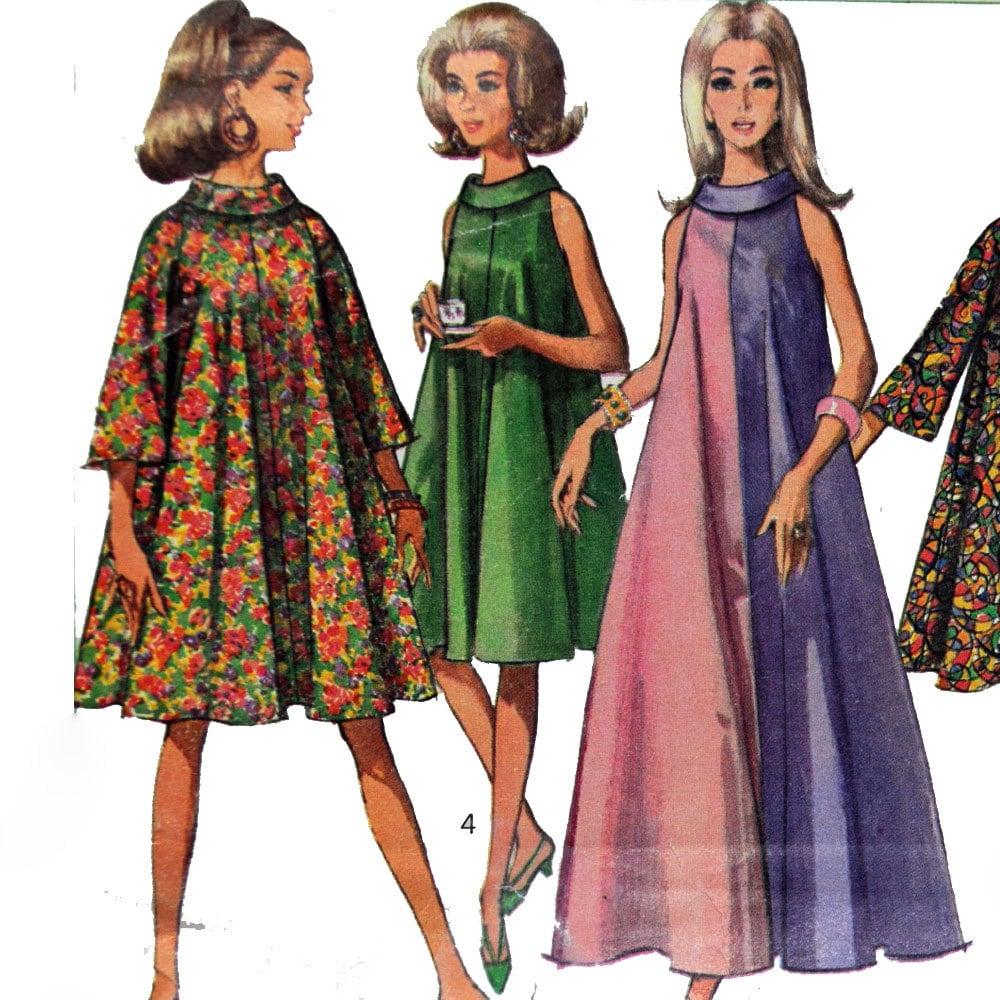 Vintage 60s Maxi Dress Pattern Mod Tent Dress Funnel Neck