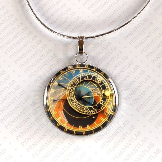 astronomical clock pendant clock necklace prague by pendantlab