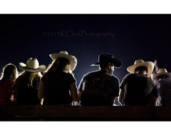 Rodeo Nights Fine Art Photography Western Style Country Home Decor Texas Cowboys Cowgirls Night Silhouette