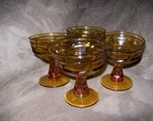 Set of 4 Libbey Vintage Amber Cocktail/ Dessert Glasses