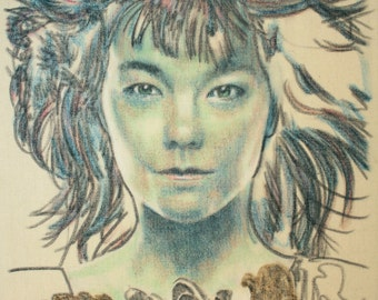 Portrait of Björk, hair blowing in the breeze.