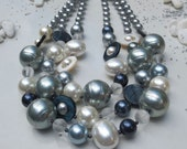 Blues, Creams & Greys Necklace - Blue Grey Crème Pearls Shells Spotty Glass Beads Statement Necklace