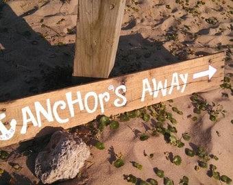 Anchor wedding sign, beach wedding, rustic wedding sign, wedding directional sign, sea side wedding, nautical wedding