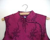 vintage chinese blouse asian blouse fuchsia blouse flower pattern asian sleeveless blouse cheongsam mandarin collar