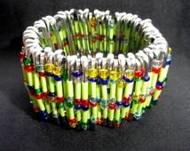Safety pin bracelet lime multi colour, colorful bead stretch bracelet, gifts