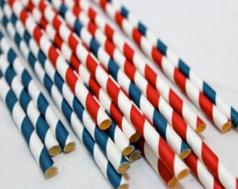 24 red white and blue fourth 4th of july striped vintage birthday party baby shower paper straws striped decor decorations