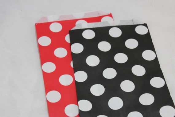 12 pirate or mickey mouse birthday party goodie favor paper bags  polka dotted red and black