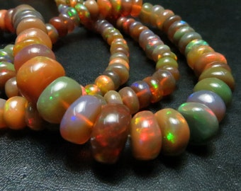 16 Inches  Good Quality Natural Color Ethiopian Opal Smooth Rondells Full Filshy Fire Size 8mm 4mm  Approx