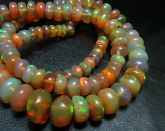 16 Inches  SUPPER TOP Quality Natural Color Ethiopian Opal Smooth Rondells Full Filshy Fire Size 7.50mm 3.50 mm  Approx