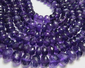 2 Strand 8 Inche  High Quality Amethyst  Mirco Faceted Roandell Beads Size 10X10 mm Approx