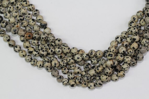 "Dalmation Jasper 8mm smooth round beads 16"" length full strand"