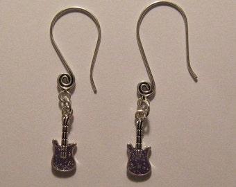 Purple Glitter Guitar Earrings