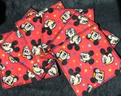 red mickey flannel cloth wipes