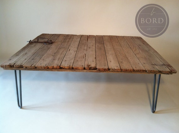 Items Similar To Reclaimed Barn Door Coffee Table With Original Latch And Hairpin Legs On Etsy