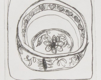 original etching PENNY'S BOWL handpulled drypoint etching by Wendy McDonald