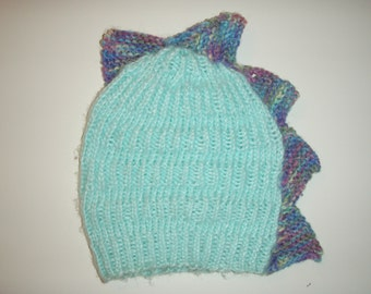 Blue and Purple Knit Dino Stocking Cap
