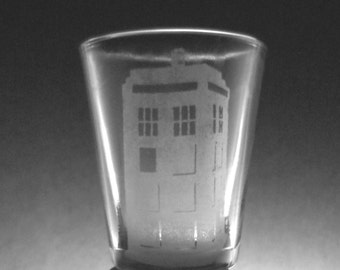 Doctor Who Tardis Etched Shot Glass