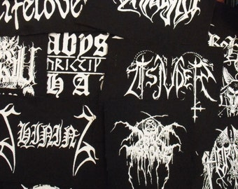 10 MYSTERY BLACK METAL lot of my choice 10 small printed patches black metal